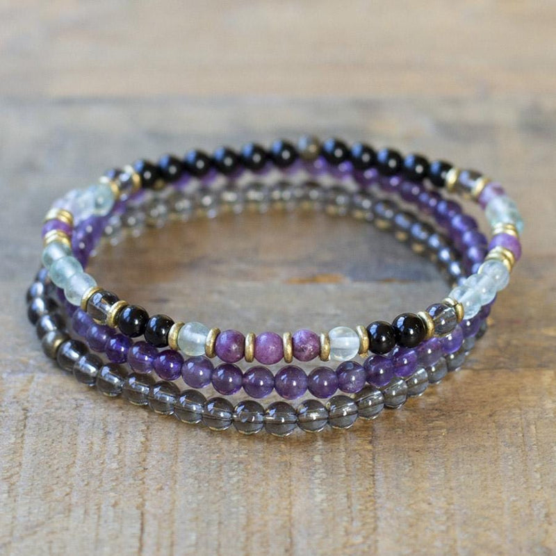 Black Tourmaline Smoky Quartz and Amethyst Delicate Bracelet Set