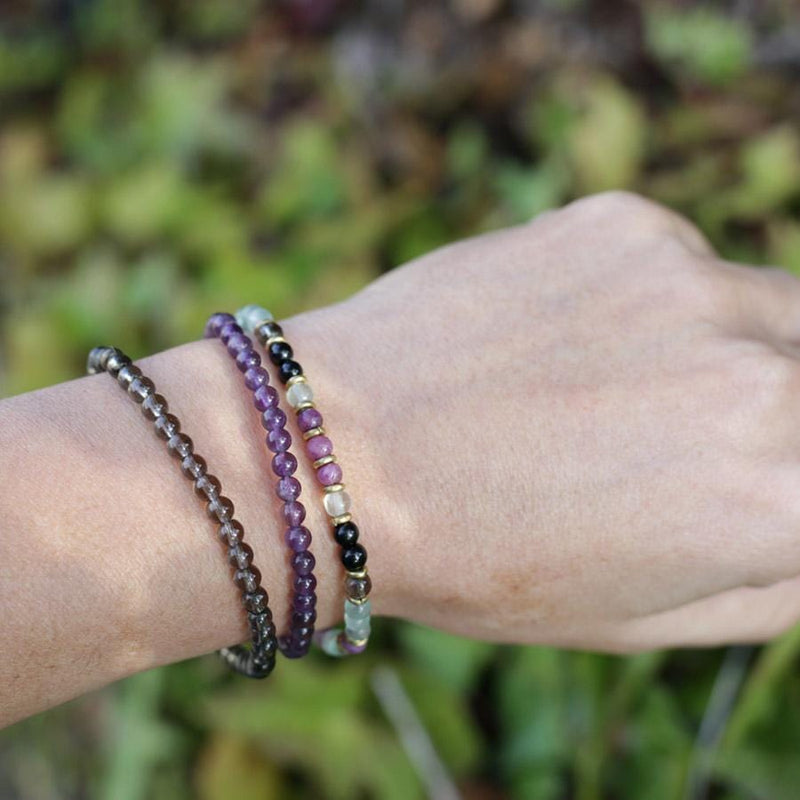 """Protection and Good Energy"" Black Tourmaline Smoky Quartz and Amethyst Delicate Bracelet Stack"