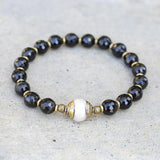 Black Tourmaline and Pearl Bracelet