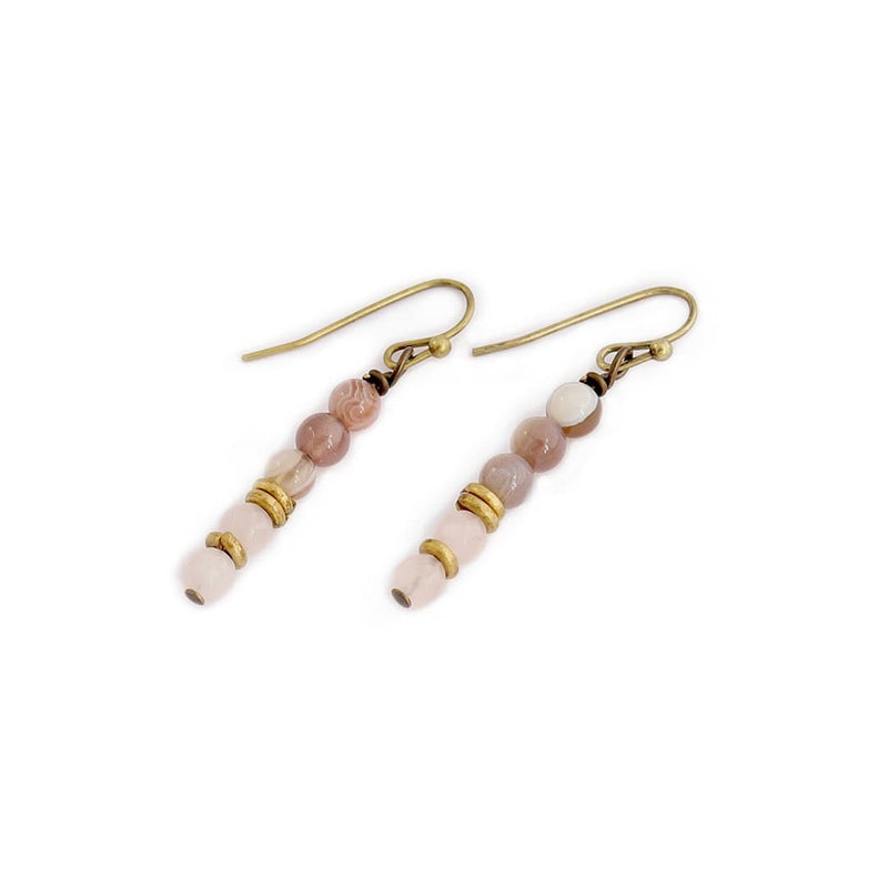 Botswana Agate and Rose Quartz Earrings