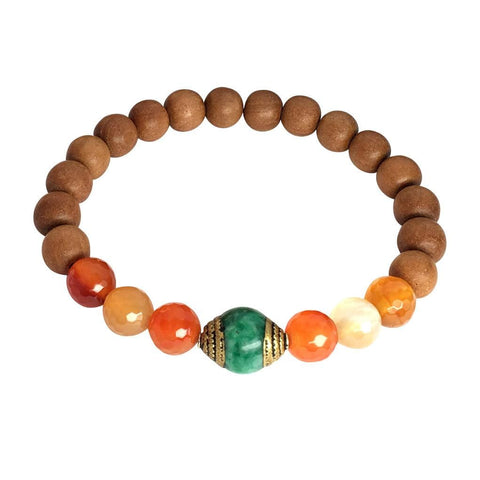 Carnelian and Green Onyx Guru Bead Sandalwood bracelet