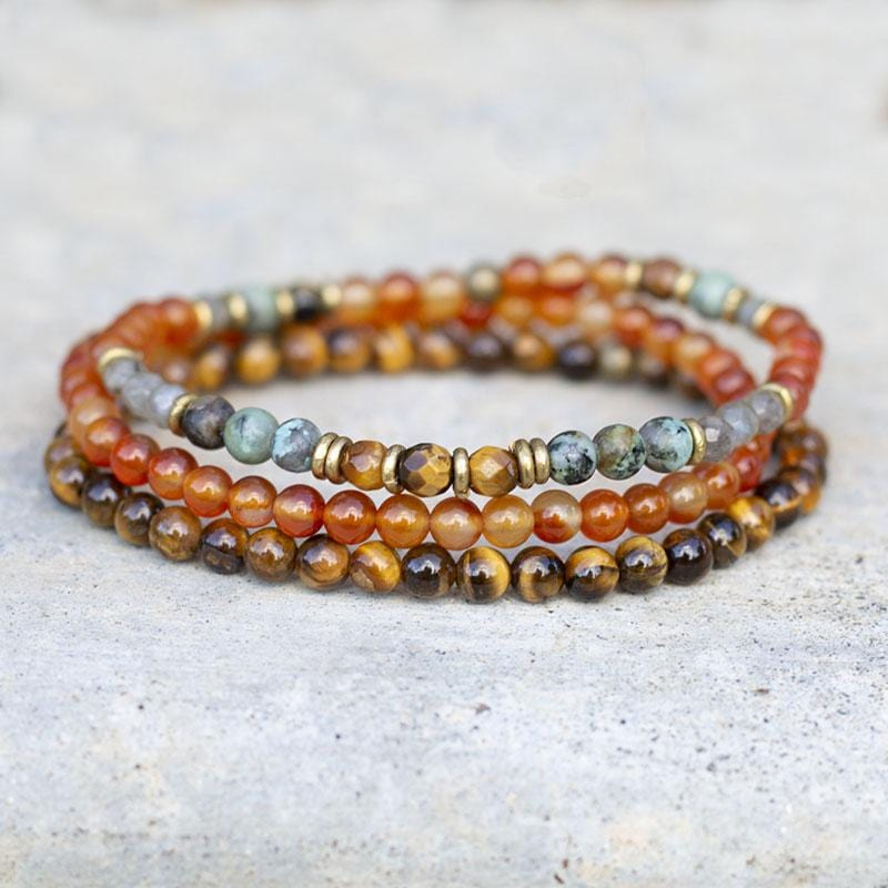 Carnelian and Tigers eye Delicate Bracelet Set