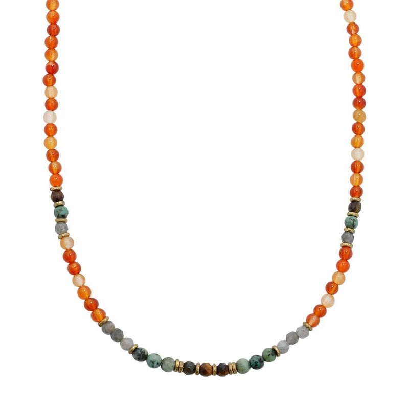 Carnelian and African Turquoise Delicate Necklace