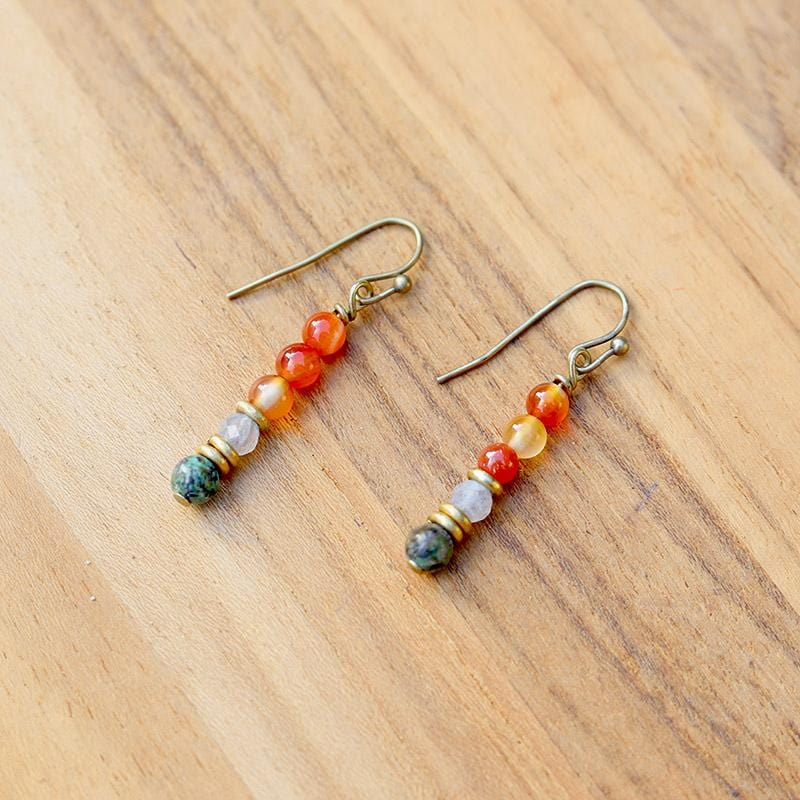 Carnelian and African Turquoise Earrings