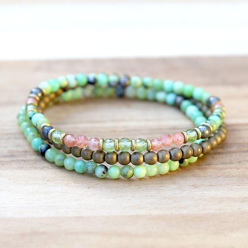Chrysoprase and Peridot Delicate Bracelet Stack