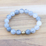 Cloudy Quartz Crystal Big Bead Bracelet