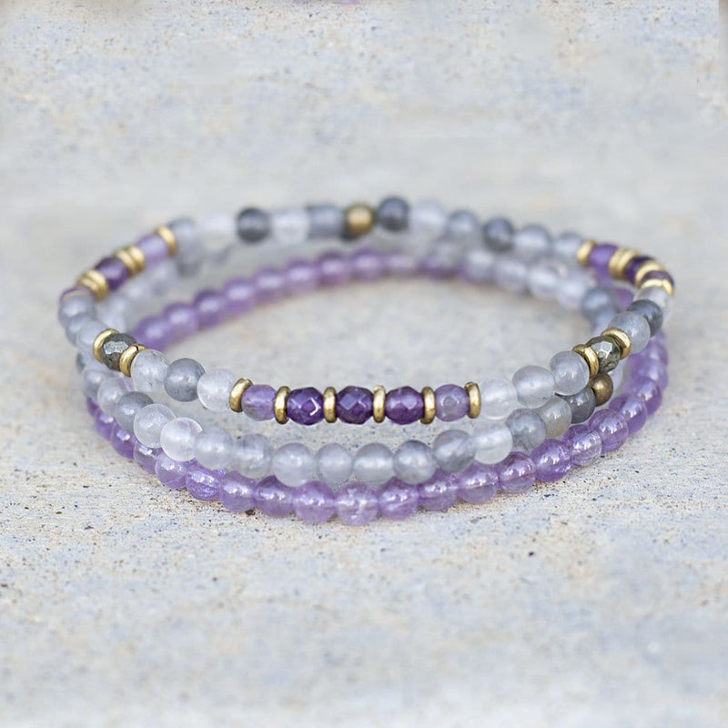 """Emotional Healing"" Cloudy Quartz Crystal and Amethyst Delicate Bracelet Stack"