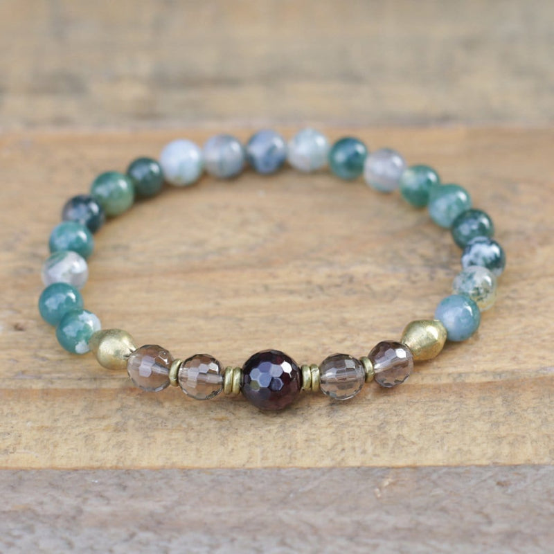 Moss Agate Smoky Quartz and Garnet Bracelet