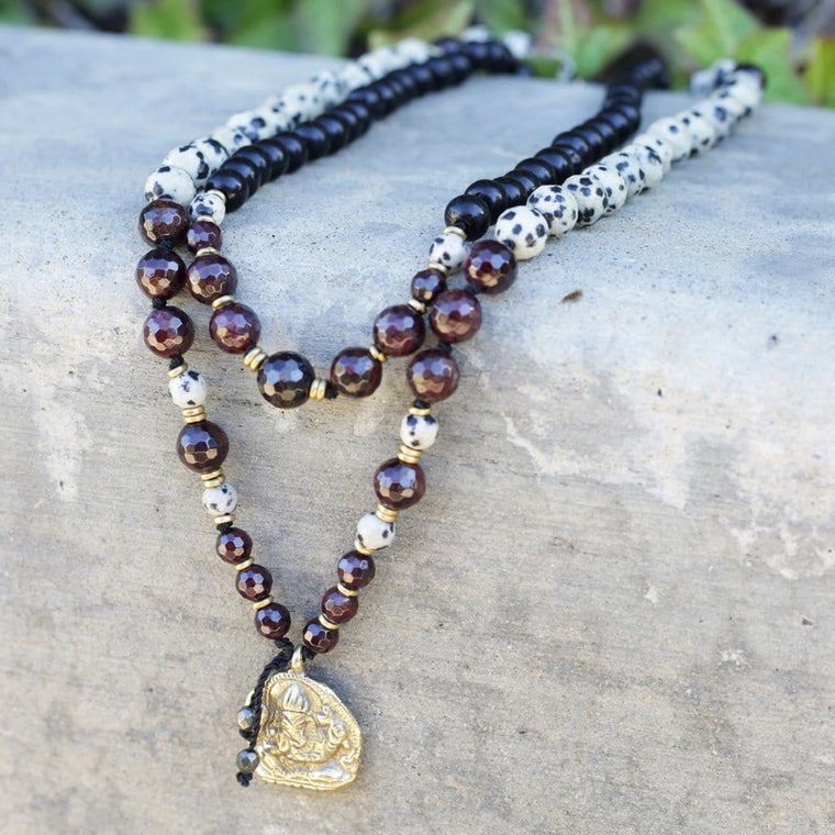 Garnet, Dalmatian Jasper and Ebony Ganesh Hand Knotted Mala Necklace