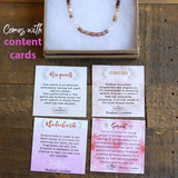 Garnet and Rose Quartz Delicate Necklace with Content Cards