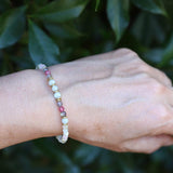 Green Moonstone and Morganite Delicate Bracelet