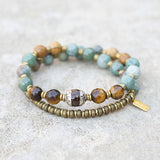 Jade and Tigers Eye Tibetan Wrap Bracelet