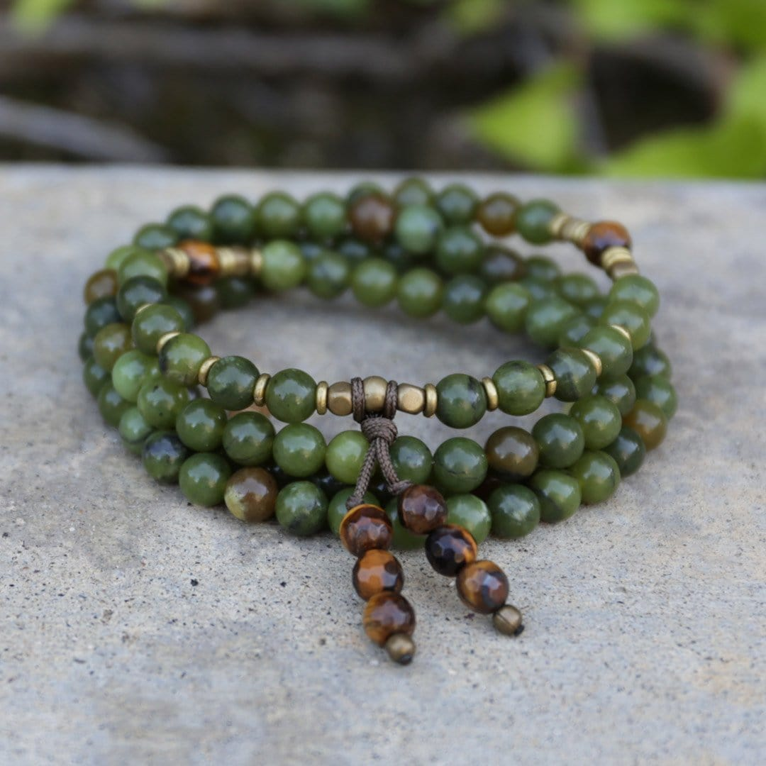 Jade and Tigers Eye Wrap Mala Necklace