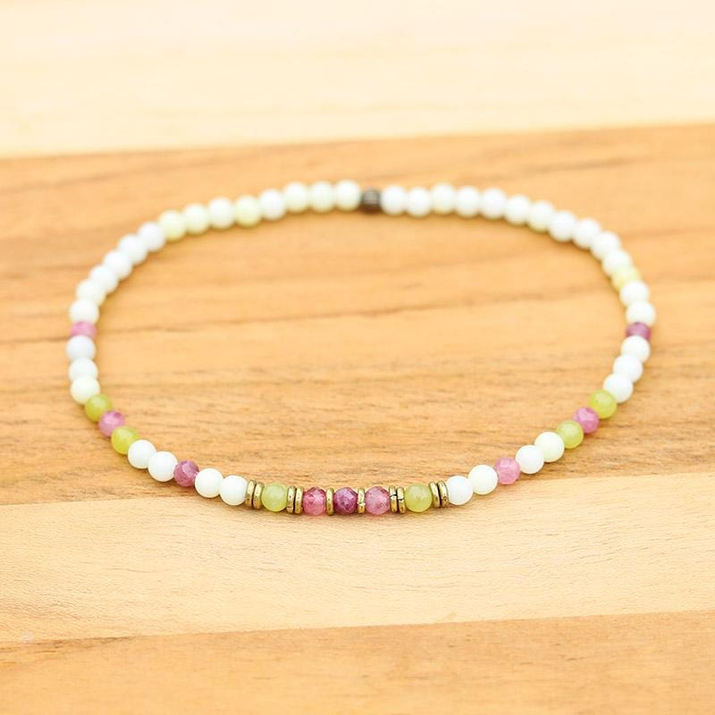 Jade and Pink Tourmaline Anklet
