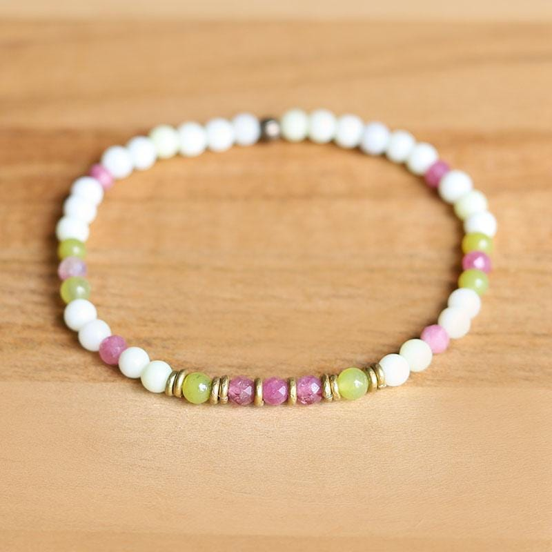 Jade and Pink Tourmaline Delicate Bracelet