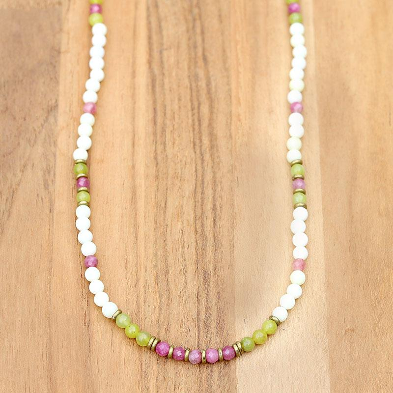 Jade and Pink tourmaline necklace