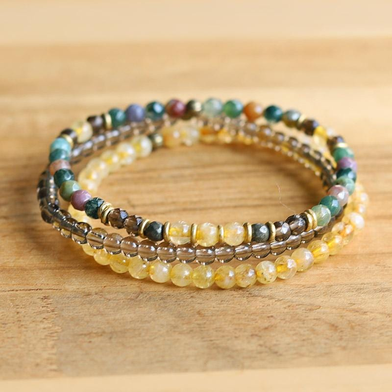 Jasper and Citrine Delicate Bracelet Stack
