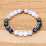 Kambaba Jasper and Moonstone Bracelet Set