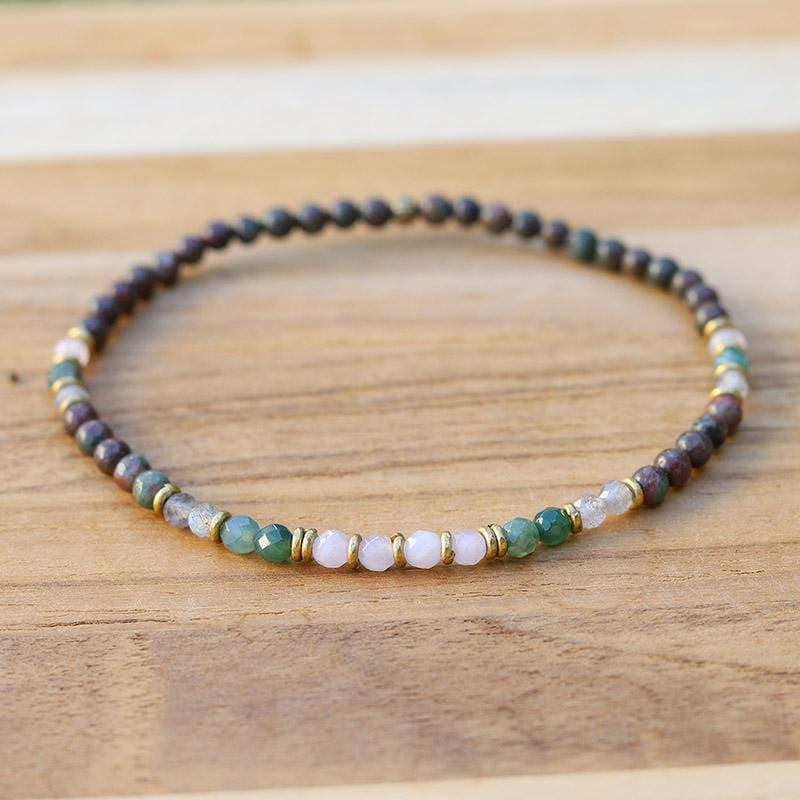 Kashgar Garnet Moss Agate and Rose Quartz Anklet