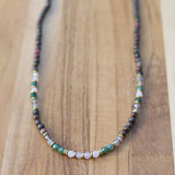 Kashgar Garnet Moss Agate and Rose Quartz Delicate Necklace