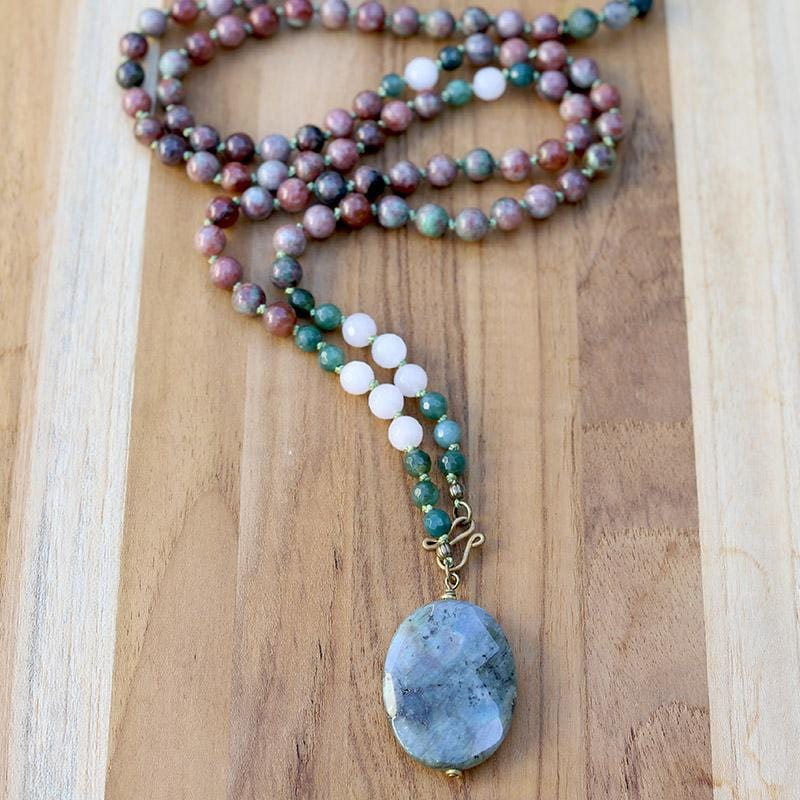 Kashgar Garnet Moss Agate and Rose Quartz Hand Knotted Necklace