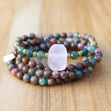 Kashgar and Moss Agate 108 Bead Mala