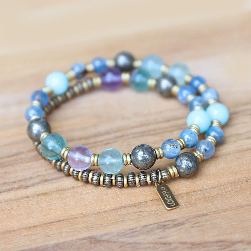 Kyanite Fluorite and Pyrite Mala Bracelet