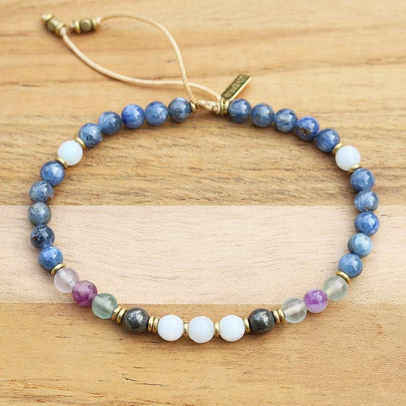 Kyanite and Fluorite Adjustable Anklet
