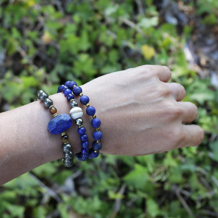 Compassion - Lapis Lazuli, Pyrite, and Bone Set Of 3 Bracelets
