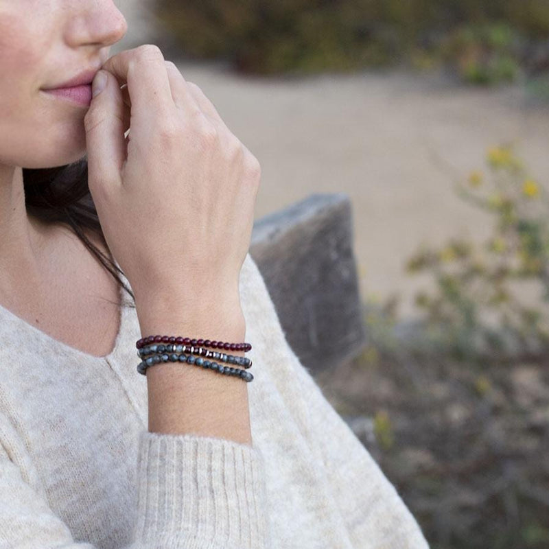 """Grounding and Creativity"" Larvikite and Garnet Delicate Bracelet Stack"