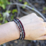 Larvikite and Garnet Delicate Bracelet Set
