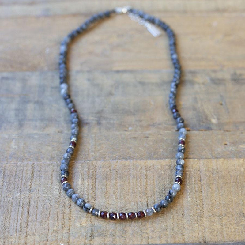 """Grounding"" Larvikite and Garnet Delicate Necklace"