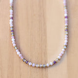 Lepidolite Amethyst and Labradorite Delicate Necklace