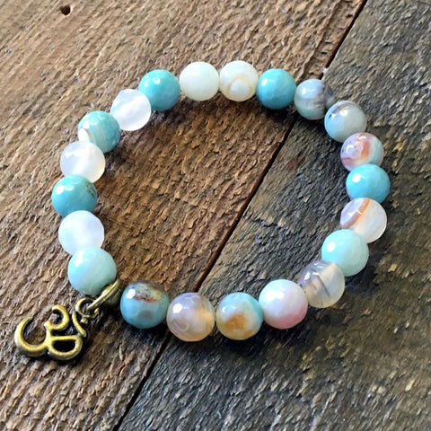 Aqua agate 'Mermaid' bracelet with Om charm