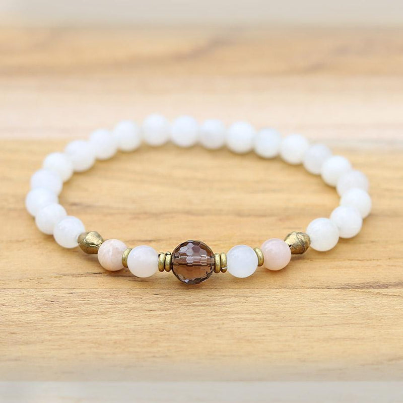 Moonstone and Smoky Quartz Bracelet