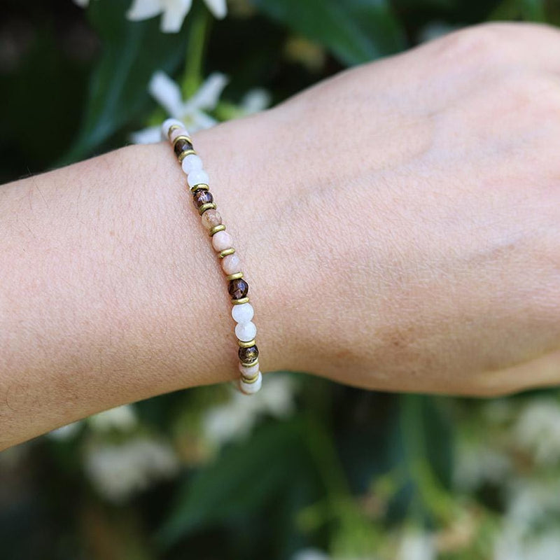 Moonstone and Smoky Quartz Delicate Bracelet