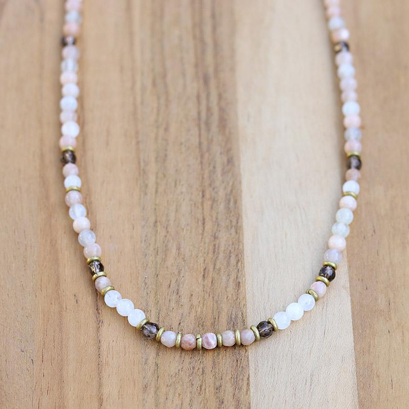 Moonstone and Smoky Quartz Delicate Necklace