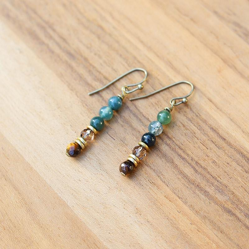 Moss Agate and Smoky Quartz Earrings