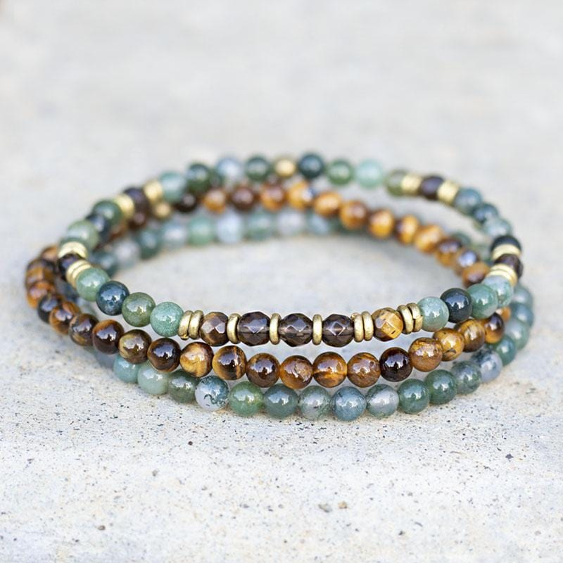 Moss Agate and Smoky Quartz Delicate Bracelet Set