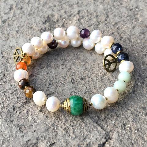 Pearl and Chakra gemstones bangle bracelet