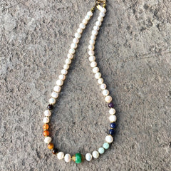 Pearl Necklace with Genuine Chakra Gemstones