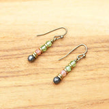 Peridot and Sunstone earrings