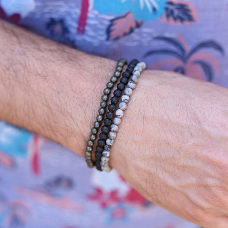 Pyrite Lava and Jasper Men's Bracelet Stack