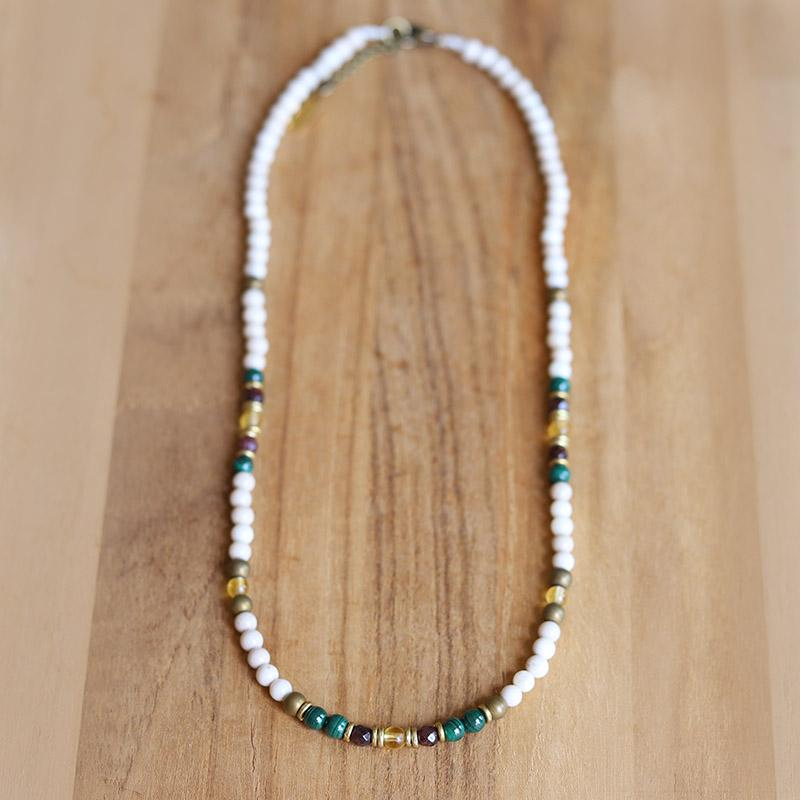 Riverstone Malachite and Garnet Delicate Necklace