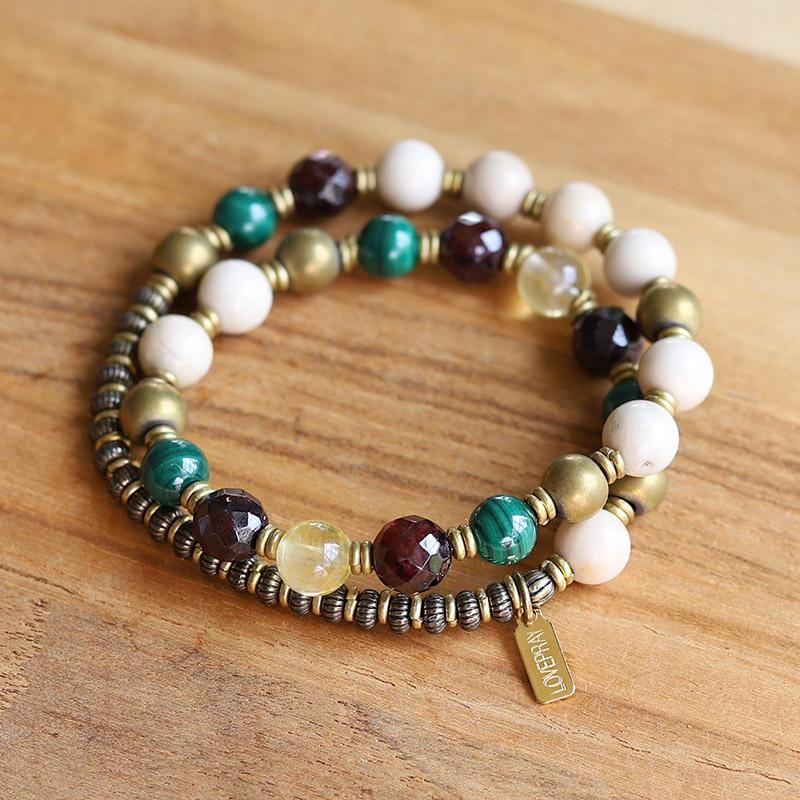 Riverstone Malachite and Garnet Mala Bracelet
