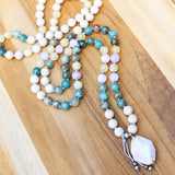 Riverstone, Kunzite, Chrysocolla, and Yellow Chalcedony Hand Knotted Mala Necklace