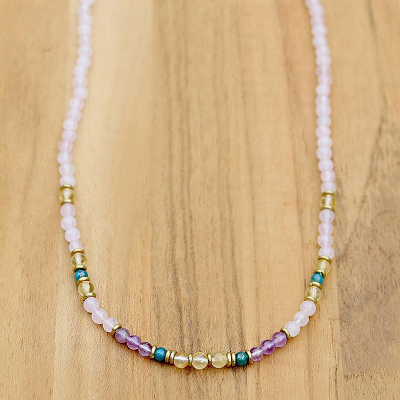 """Summer Healing"" Rose Quartz Amethyst and Apatite Delicate Necklace"