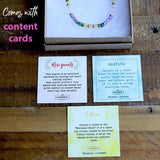 Rose Quartz and Apatite Delicate Necklace with Content Cards
