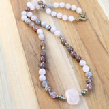 Rose Quartz Kunzite and Agate Hand Knotted Mala Necklace