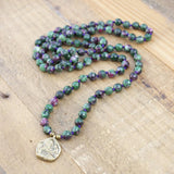 Ruby in Zoisite Hand Knotted Mala Necklace
